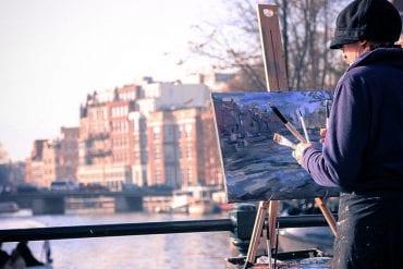 Malerin Amsterdam an der Amstel