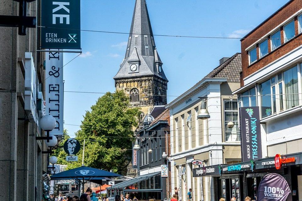 Straße, niederlande, kirchturm, stadt enschede sehenswürdigkeiten