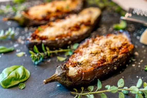 Melanzane Ripiene Rezept- Überbackene Auberginen italienisch